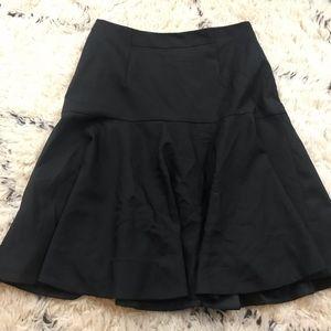 J. Crew 8 Flare Skirt Super 120s Wool Black office